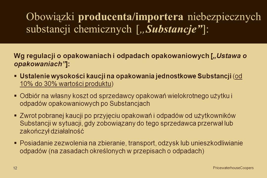 """Obowiązki producenta/importera niebezpiecznych substancji chemicznych [""""Substancje ]:"""
